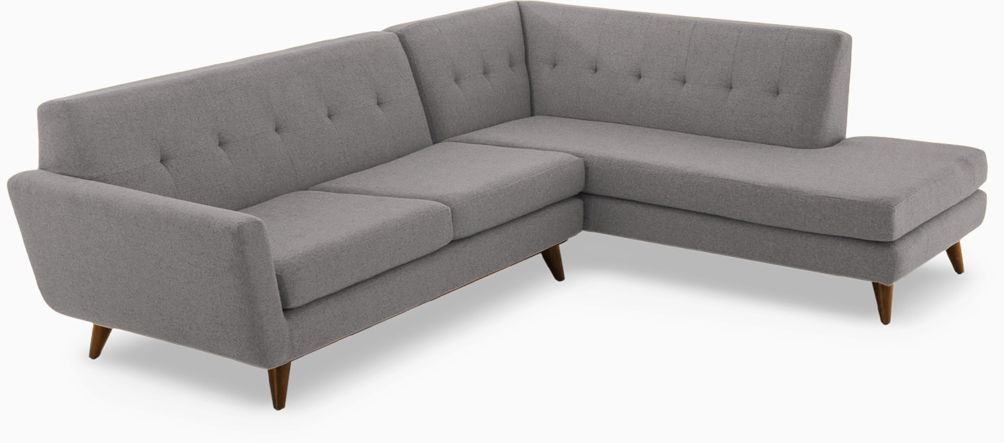 hughes sectional with bumper %282 piece%29 taylor felt grey