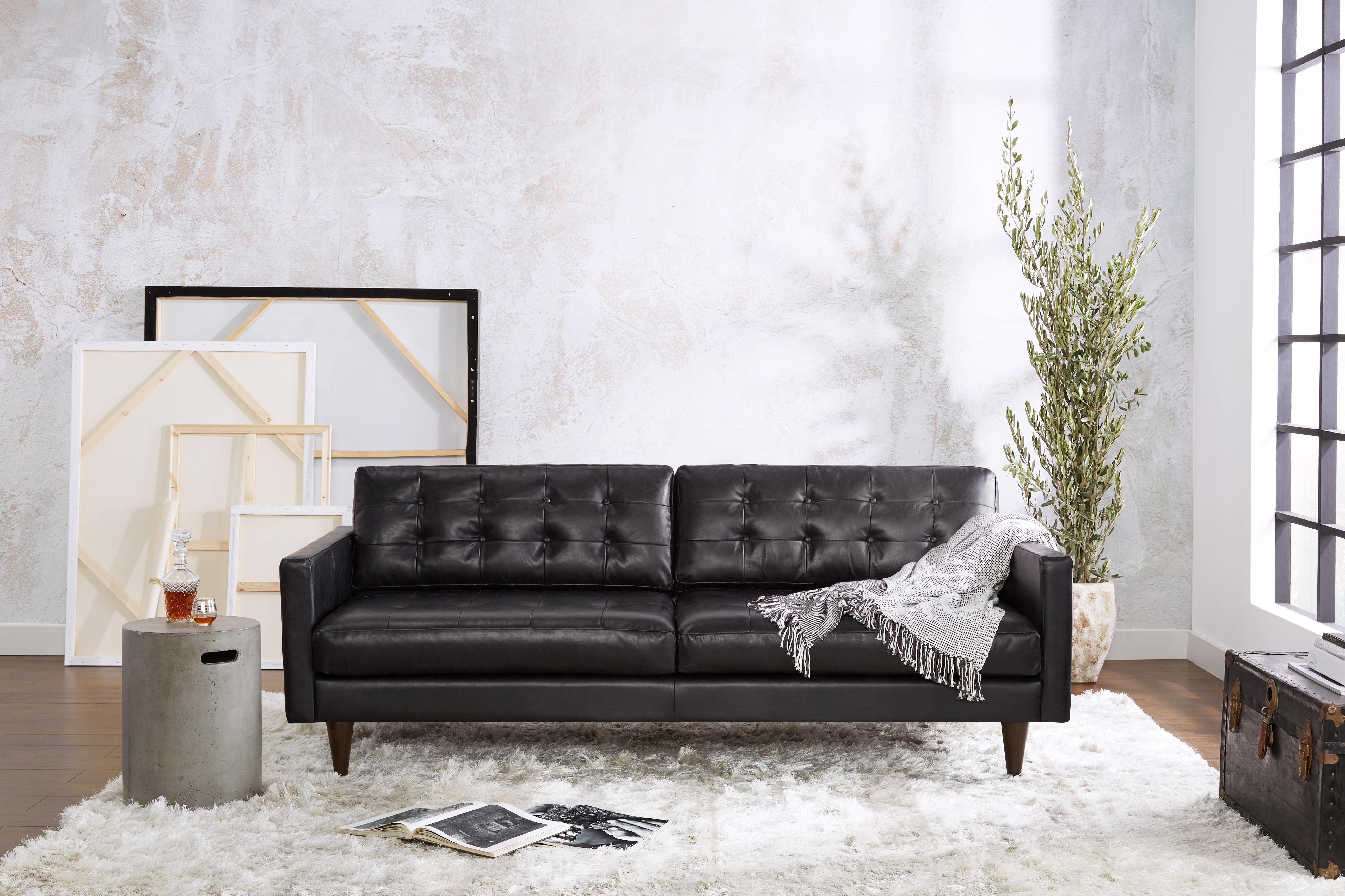 Eliot Leather Sofa Santiago Steel