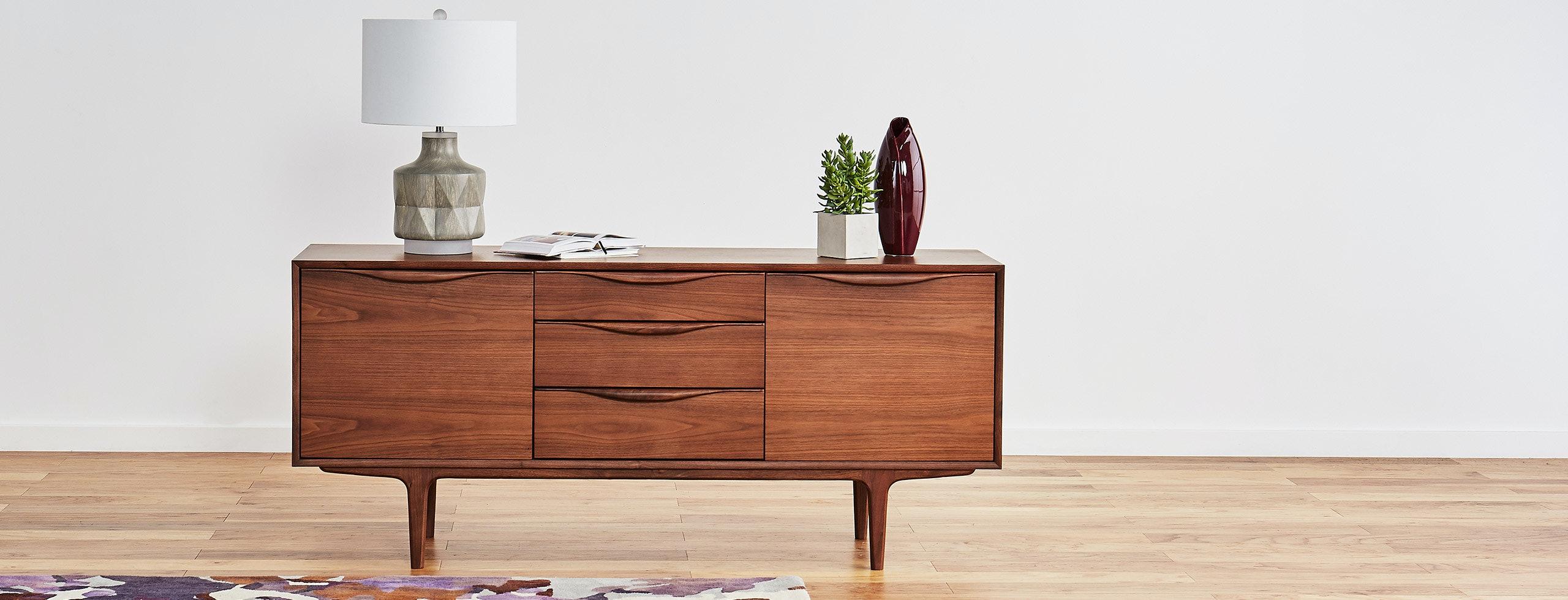 Mckenzie drawer console walnut lastudio hero