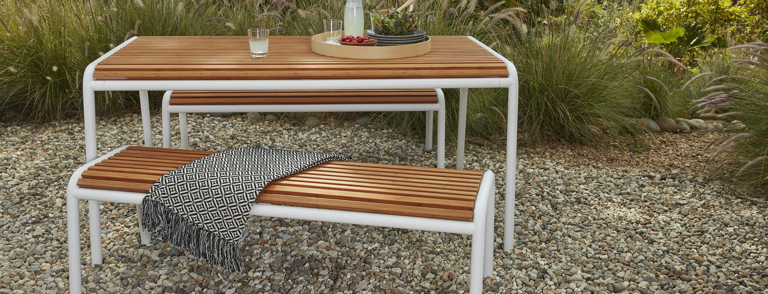Piper Outdoor Dining Bench Set Of 2